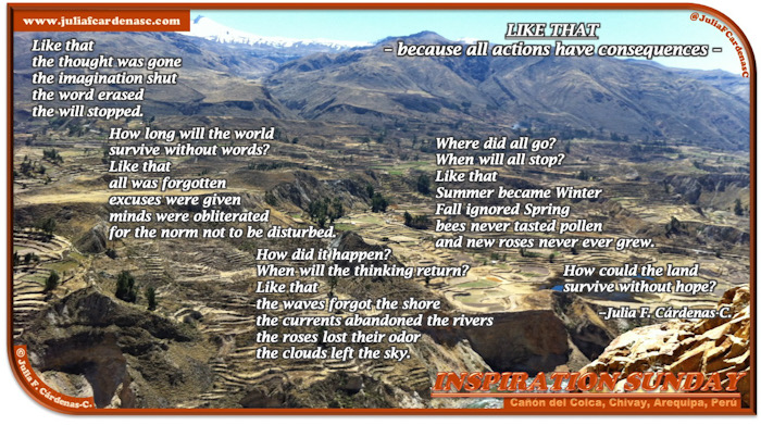 """Inspiration Sunday Poem-In-A-Photo. The picture is of the Colca Canyon beautiful view from a higher location, Andes's mountains in the far, and the terrain goes from yellow to a dark green-brown to a blue-green in the far where the mountains are. The """"Like"""" That Poem talks about a chaotic time where all good things to be gone, where what was needed had left the land, questioning where hope has gone and how long will we live without it. Tag: @JuliaFCardenasC"""
