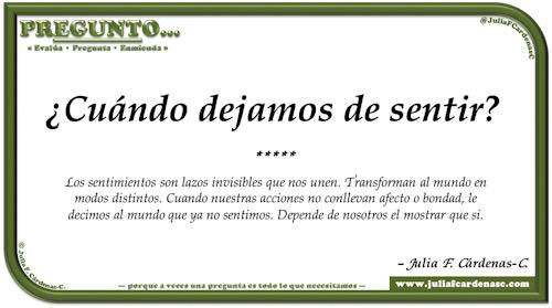 Pregunto… Tarjeta de pregunta y respuesta en Español como reflexiones de la vida sobre los sentimientos. @JuliaFCardenasC