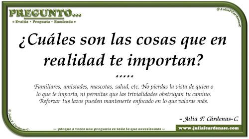 Pregunto… Tarjeta de pregunta y respuesta en Español como reflexiones de la vida sobre las cosas que valoramos. @JuliaFCardenasC