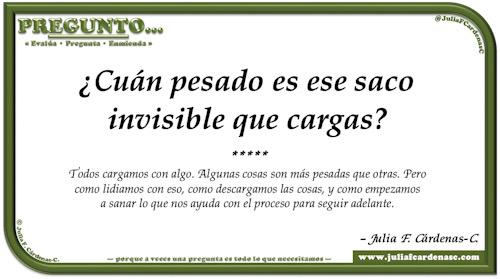 Pregunto… Tarjeta de pregunta y respuesta en Español como reflexiones de la vida sobre el saco de remordimientos. @JuliaFCardenasC
