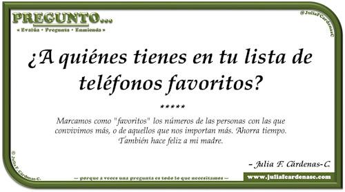 Pregunto… Tarjeta de pregunta y respuesta en Español como reflexiones sobre la lista de favoritos de aquellos más cercanos. @JuliaFCardenasC