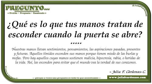 Pregunto… Tarjeta de pregunta y respuesta en Español como reflexiones sobre inseguridad o discreción. @JuliaFCardenasC