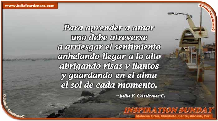 Poem-In-A-Photo. Poem about love and courage. Photo of an overcast morning in Chimbote, Santa, Ancash, Perú. A still of Malecón Grau, with the ocean water moving and hitting the rocks in the shore, boats stand in the far, and yellow seating shelters along the shore line. @JuliaFCardenasC
