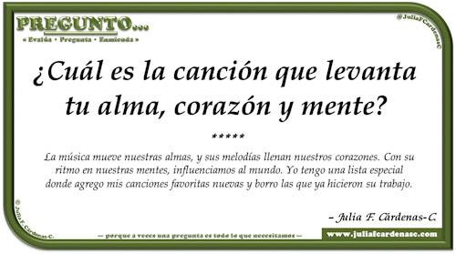 Pregunto… Tarjeta de pregunta y respuesta en Español como reflexiones sobre el efecto de la música en nuestros corazones y mente. @JuliaFCardenasC