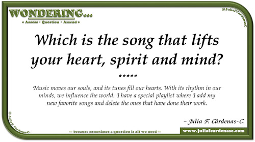 Wondering… Question and answer card pondering and reflecting about the impact of music in the heart and the mind. @JuliaFCardenasC