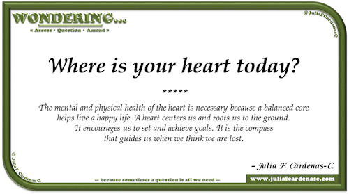 Wondering… Question and answer card pondering and reflecting about the heart's mental and physical health. @JuliaFCardenasC