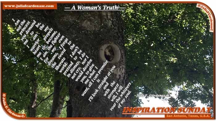 Poem-In-A-Photo. Poem about woman empowerment and our resilience and courage to be independent. Photo of a tree with a carve hole with something inside, that if you look closely may give the appearance of a leopard peeking out. Taken in San Antonio, Texas, USA. @JuliaFCardenasC