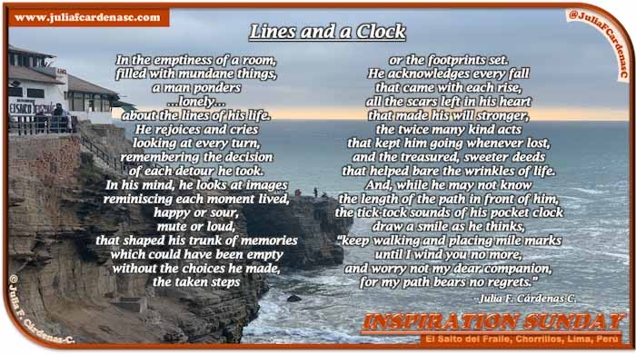 Poem-In-A-Photo. Poem about life's path and timeline. Photo of an overcast day over the Peruvian coast at an almos sunset time, particularly in El Salto del Fraile in Chorrillos, Lima, Perú. @JuliaFCardenasC