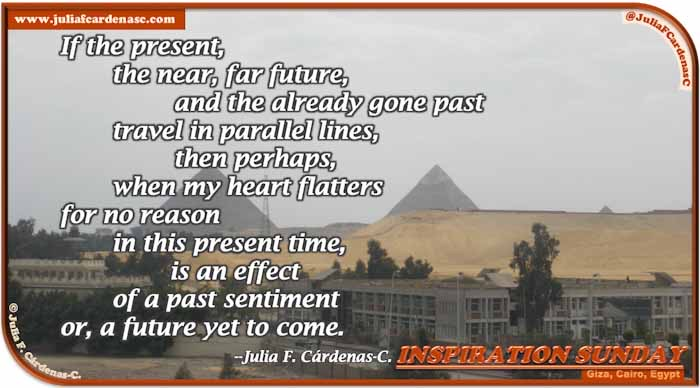 Poem-In-A-Photo. Poem about life paths and timeline. Photo shows the old and the new of Giza, Cairo, Egypt. The Giza pyramids and the yellow sand meet some green trees and white buildings of Cairo. @JuliaFCardenasC