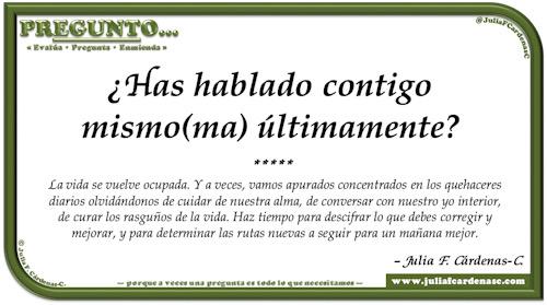 Pregunto… Tarjeta de pregunta y respuesta en Español como reflexiones sobre el cuidado de nuestra salud mental. @JuliaFCardenasC