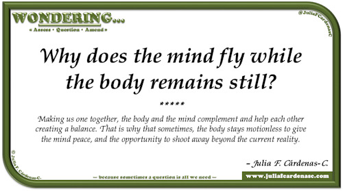 Wondering… Question and answer card pondering and reflecting about letting our mind and imagination fly. @JuliaFCardenasC