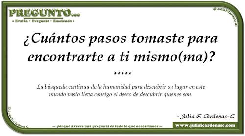Pregunto… Tarjeta de pregunta y respuesta en Español reflexionando sobre el yo interior y encontrarse a uno mismo. @JuliaFCardenasC