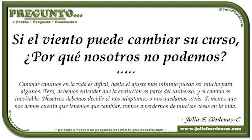 Pregunto… Tarjeta de pregunta y respuesta en Español reflexionando acerca de las decisiones y los rumbos de la vida . @JuliaFCardenasC