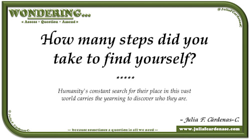 Wondering… Question and answer card pondering and reflecting about the inner self and finding oneself. @JuliaFCardenasC