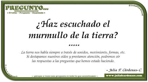 Pregunto… Tarjeta de pregunta y respuesta en Español reflexionando sobre la naturaleza y sus sonidos, y como ambos afectan al ser humano. @JuliaFCardenasC