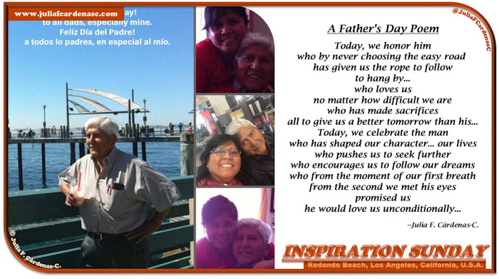 Inspiration Sunday Poem-In-A-Photo. Photo of a father and daughter, main picture is of father at the beach with a beautiful water and sky backdrop. Picture has Julia's Father's Day poem. Tag: @JuliaFCardenasC