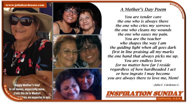 Inspiration Sunday Poem-In-A-Photo. collage of photos of a mother and daughter together, next to it is the poem Julia wrote for her mother for Mother's Day in 2018. Tag: @JuliaFCardenasC