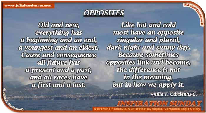 Poem-In-A-Photo. Poem about life differences and tolerance. Photo taken while boat riding in the Sorrentine Peninsula, looking inland at the Gulf of Naples, Naples, Campania, Italy. @JuliaFCardenasC