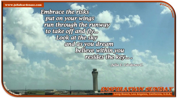 Inspiration Sunday Poem-In-A-Photo. Two thirds of the blue sky is covered by bright, white and dense clouds. You could see the control tower of the Long Beach Airport in Long Beach, California, USA. Tag: @JuliaFCardenasC