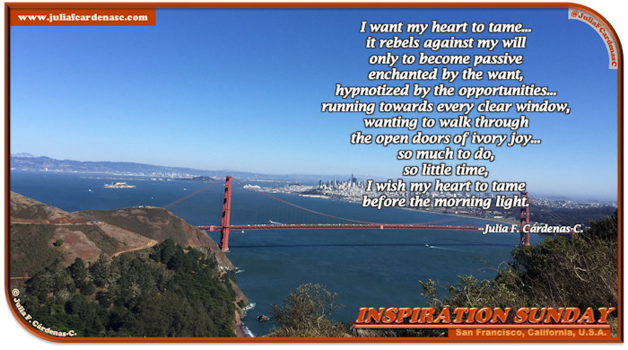 Inspiration Sunday Poem-In-A-Photo. Poem about the wants, the thinking about it, the conflicts about it and how we hope to resolve them before the time to act comes/happens. Photo its a beautiful top view of San Francisco, California, USA. Combines the contrast of the Golden Gate Bridge and nature, blue Sky, the City and the Pacific ocean. @JuliaFCardenasC