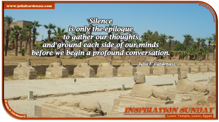 Inspiration Sunday Poem-In-A-Photo. Poem about gathering thoughts before conversing. Photo of the avenue of human headed sphinxes in Luxor Temple, Luxor, Egypt, with palm trees a a bright light blue sky. @JuliaFCardenasC