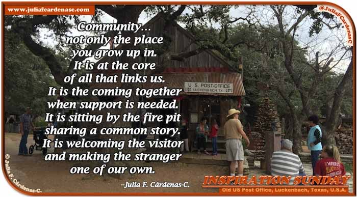 Poem-In-A-Photo. Poem about tolerance and acceptance. Photo of people gathering in front of the Old US Post Office in Luckenbach, Texas, USA. @JuliaFCardenasC