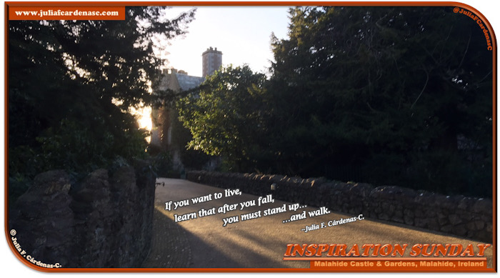 Inspiration Sunday Poem-In-A-Photo. 4-line poem placed over the pathway that leads to the Malahide Castle in Malahide, Ireland. In the photo, it is near sunset time, the sun shines through the path giving a sense of hope as you look and catch the corner of the the Malahide castle. The trees green branches give a sense of them reaching in to catch a glimpse of the sunshine. Tag: @JuliaFCardenasC