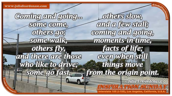 Poem-In-A-Photo. Inspiration Sunday poem about life and its path, of searching, of time and travel thoughts. Photo of cars driving through the freeway 105 traffic in Los Angeles, California, U.S.A. @JuliaFCardenasC