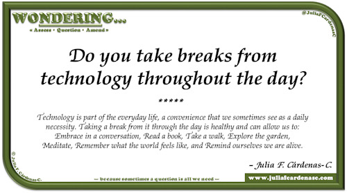 Wondering… Question and answer card pondering and reflecting about taking breaks from technology. @JuliaFCardenasC