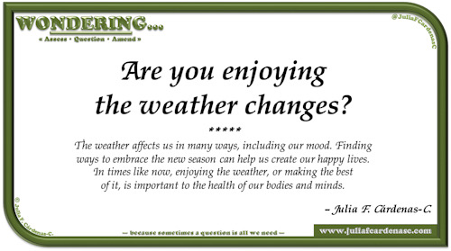 Wondering… Question and answer card pondering and reflecting about how weather affects our state of mind, happiness, and our body and mental health. @JuliaFCardenasC