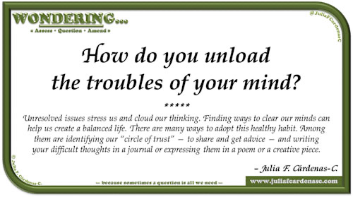 Wondering… Question and answer card pondering and reflecting about what we do to maintain mental health. @JuliaFCardenasC