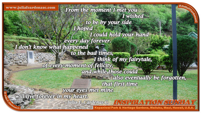 Poem-In-A-Photo. Poem about love and facts of life . Beautiful photo of a couple's statue in the middle of nature nature at the Kepaniwai Park & Heritage Gardens in Wailuku, Maui, Hawaii, U.S.A. @JuliaFCardenasC