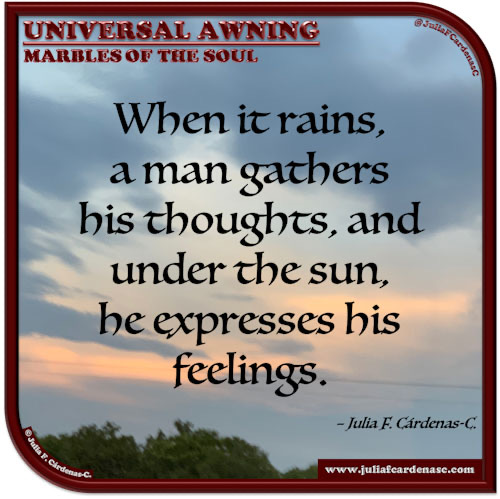Universal Awning: Marbles of the Soul. Quote and thought about man and nature. @JuliaFCardenasC