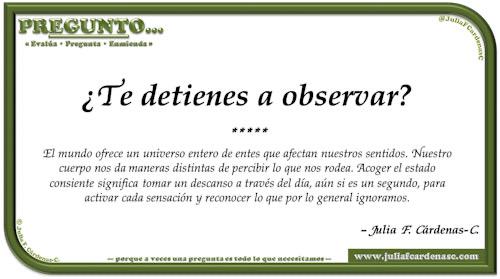 Pregunto… Tarjeta de pregunta y respuesta en Español como reflexiones sobre el despertar los sentidos para conectarse al mundo. @JuliaFCardenasC