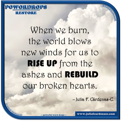 poWORDrops. Quote and thought about the word RESTORE. @JuliaFCardenasC