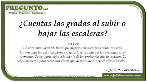 Pregunto… Tarjeta de pregunta y respuesta en Español como reflexiones sobre como el contar cosas puede abrir la mente. @JuliaFCardenasC