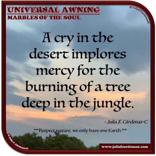 Universal Awning: Marbles of the Soul. Quote and thought about nature. @JuliaFCardenasC