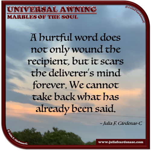 Universal Awning: Marbles of the Soul. Quote and thought about thinking before speaking. @JuliaFCardenasC